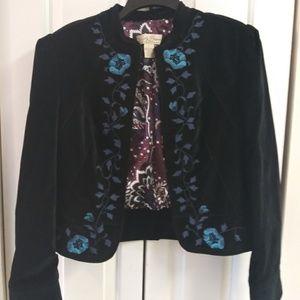 Lucky Brand sz L embroided velvet jacket